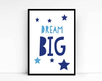 Dream Big print, Blue wall art, Scandinavian art, Nursery Decor, Nursery art, Kids Room, Nordic nursery, Scandinavian kids, Blue Wall Art