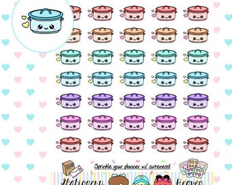 35 Kawaii Pastel Crockpots Planner Sticker | Perfect for any Planner (158)