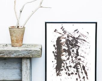 Black Watercolor, Abstract Art print, Minimalist Poster, Printable Art,  Modern Art, Wall Decor, Wall Art, Instant Download