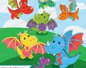 Cute Baby Dragon Clipart - Instant Download File - Digital Graphics - Cute - Crafts, Web, Parties - Commercial & Personal Use - #F008