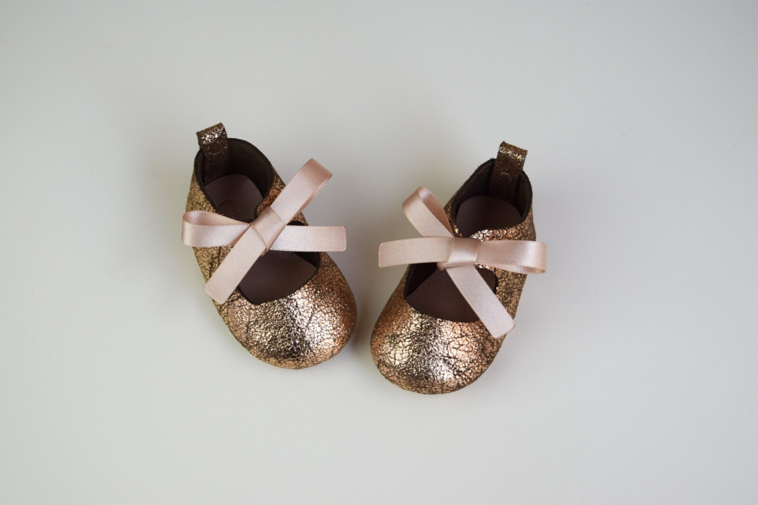 Baby Girl Shoes Baby Moccasins Gold Glitter Leather Mary