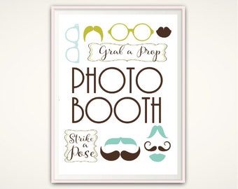 Photo Booth Sign - PRINTABLE Photobooth Sign, Grab a Prop, Wedding Sign, Photo Booth Printable, Wedding Photo Booth Prop, Wedding PRINTABLE