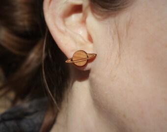 Saturn Stud Earrings | Laser Cut Space & Science Jewellery | Planets