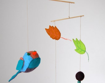 felt mobile birds leafs baby child room decoration