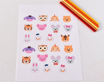 23 Donkey Zoo Paper Stickers, Tiger Stickers, Mouse Planner Stickers, Fish Calendar Stickers, Duck Stickers