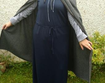 Medieval wool cloak - 100% wool - Irish tweed - dark gray / charcoal - hooded - HANDMADE IN IRELAND - ready for shipping