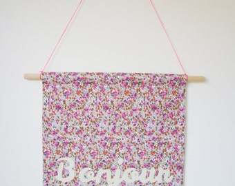BONJOUR fabric wall banner