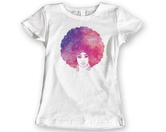 Afro Woman Watercolour T-shirt. Womens Watercolor Pink Purple Original Graphic Tee. 100% Cotton White Ladies Tshirt S,M,L,XL,XXL Afro Art