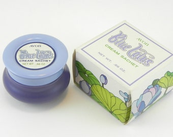 FREE SHIPPING Unique Vintage Blue Lotus Cream Sachet Jar Avon Collectible Solid Perfume Container Retro Style Old Avon Cheratiques ItemAW389