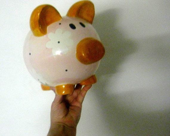 Vintage piggy bank pink xxl extra mega great bank 1930 germany for Secret piggy bank