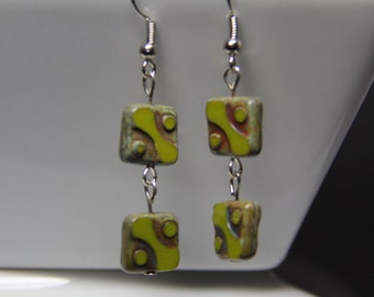 Drop Earrings: lime green and brown