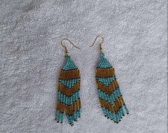 Diamond shaped beaded Earrings, Dangling beaded Earrings