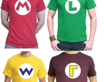 Male / Female / Childs Sizes MARIO Bros T-Shirt Mario / Luigi / Wario / Waluigi / Princess Peach retro gaming super mario brothers
