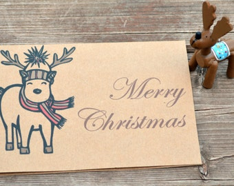 Christmas Card - Christmas Cards - Holiday Cards - Merry Christmas - Christmas Card Set - Handmade-Christmas-Pack of 5 - Reindeer-Hipster