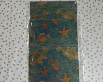 Under the Sea~Set of 2 Packs~Vintage Starfish~Emerald Waters~Ocean Side~Gift Paper~Wrapping