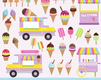 Ice Cream Clip Art, Ice Cream Vans Clip Art, Popsicles, Cones, Ice Cream Stand Clipart, Digital Vector Download