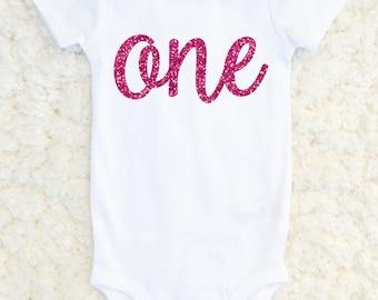 First Birthday Outfit Girl - First Birthday Shirt Girl - Birthday Girl Bodysuit - Glitter Outfit - Baby Girl 1st Birthday, Cake Smash