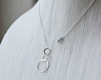 Sterling Silver 3 Circle Necklace Interlocking Infinity Circles Eternity Necklace Three Circle Jewelry Tiny Gray Gemstones Simple Delicate