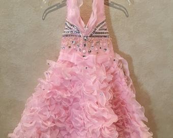 Girl's 8/10 Pink Ruffle Halter Princess Dress