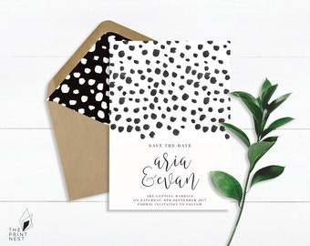Save The Date Invitation | Black and White Save The Date | Elegant | Save The Date Invites | Monochrome Save the Date