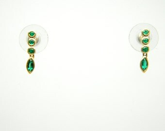 Emerald Earrings,18k Yellow Gold, Mini Earrings, High Quality (Authentic)