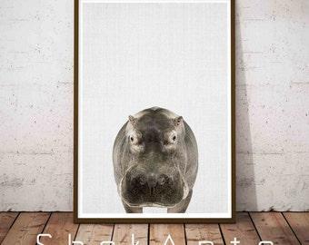 Hippo, Hippopotamus Art, Hippopotamus Gift, Nursery Art, Nursery Wall Art, Animal Nursery, Gift For Her, Safari Nursery Print, Hippo Artwork