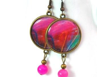 Large statement earrings, Fuchsia Jade earrings, Round resin earrings, Bohemian gemstone earrings, Picture jewelry for women, 1104-pink