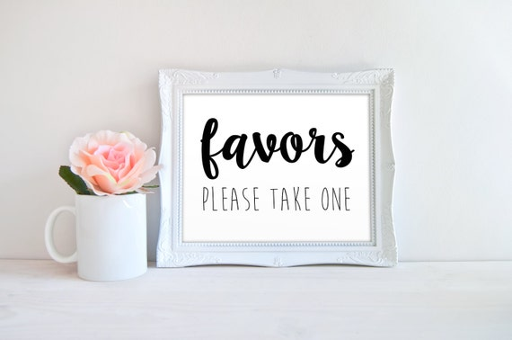 wedding favors please take one printable sign by