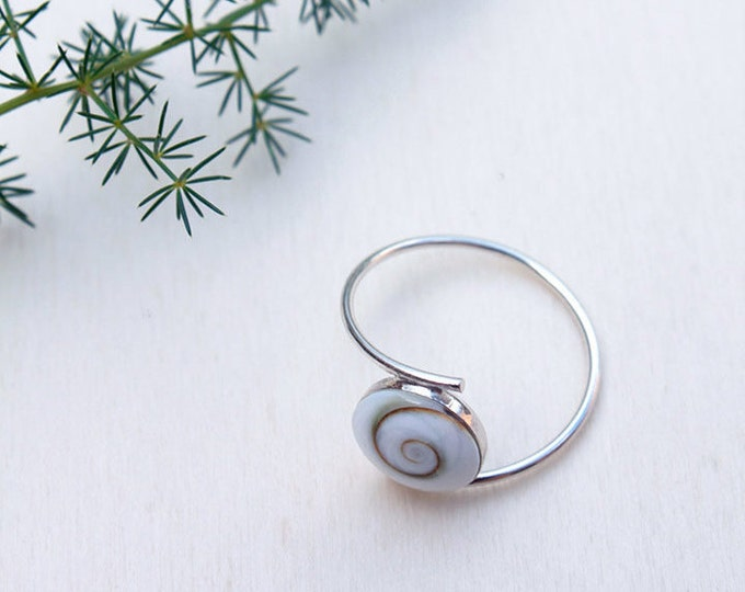 Sterling Silver Ring formed by Shiva Eye Shells