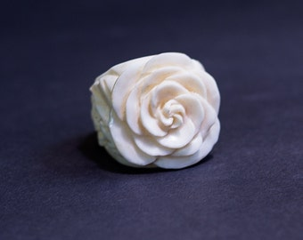 New Bone Carved Rose Ring, Hand carved Flower Ring, Unique Rose Jewelry, Rings for women