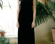 Vintage Velvet Maxi Dress | Mock-Turtleneck | SM/Med/LG