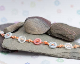 Hemp cord knotted bracelet, button bracelet, variegated taffy hemp cord, flower buttons