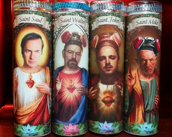 Set of 4  Breaking Bad Saint  Candles  - Walter White, Jesse Pinkman, Mike & Saul -  Celebrity Saint Prayer Candle
