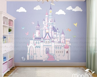 Disney Princess Castle With Colorful Birds And Squirrel Large Wall  Sticker,Kids Room Bedroom Part 71