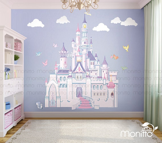 Disney Princess Castle With Colorful Birds And Squirrel Large Wall Sticker,Kids  Room Bedroom Playroom Wall Decal,Nursery Wall Decal [MT014] Part 7