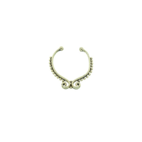 Faux septum ring, Fake septum ring, Faux nose ring, non pierced septum, Voodoo Septum Ring