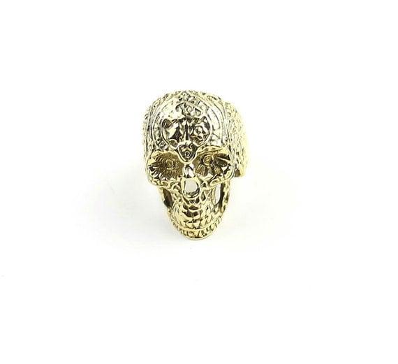 Sugar Skull Ring, Filigree Design Brass Ring, Gold Skull Ring, Mexican Sugar Skull, Ethnic Jewelry