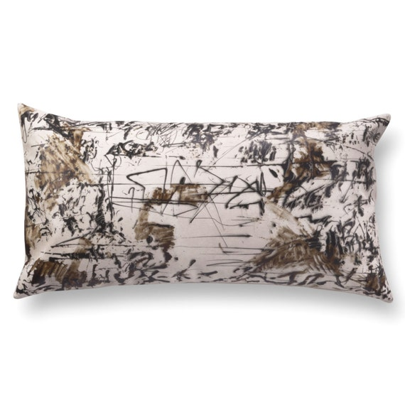 Monochrome pillow Long decorative pillow off white leather