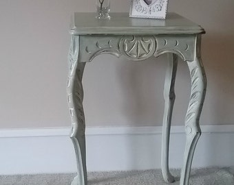 SOLD!  Shabby chic; side table; end table; painted furniture; soft green cream; distressed; moon scallop details; custom order