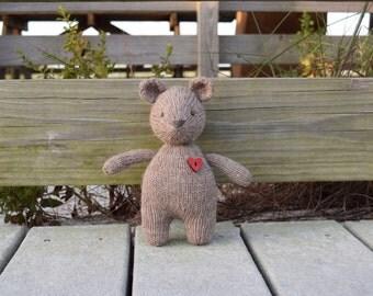 Stuffed Teddy Bear, Alpaca Wool Toy, Knit Toy, Handmade Plush, Love Bear, Plush Toy, Small Toy, Knit Stuffed Animal, Photo Prop, Baby Gift