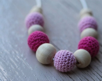 Hot Pink Light Pink Crochet Bead Necklace ~ Nursing Necklace ~ Teething Necklace