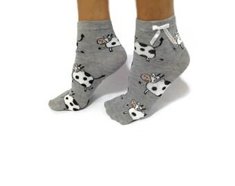 Cow Socks, Ankle Socks, Cow Ankle Socks, Fun Funny Socks, Animal Socks, Ladies Casual Cotton Socks, Women Socks, Short Socks, Ankle Stocking