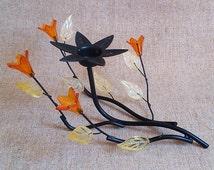 Metal candle holder, Black iron candle holder Candlestick wire Candlestick black Vintage candleholder Candleholder floral Candleholder plant