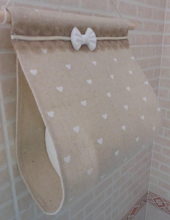 Porta rotolo di carta igienica in tessuto fatto a mano beige - Porta carta igienica ...