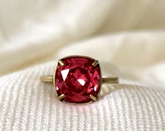 Swarovski Hot Pink Crystal Ring Antique Brass Setting Adjustable 10mm Pink Crystal