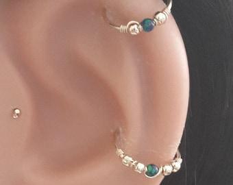Green-Blue Opal 2mm Helix Earring- Gold Beaded Cartilage Hoop-Silver Helix Piercing- October's Birthstone-20-24 Gauge- 6-12mm Inner Diameter