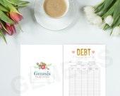 Debt Tracker - Planner Printables, Finance Planner Inserts, Debt Payoff, Debt Printable, Debt Repayment, Gold & Pink,