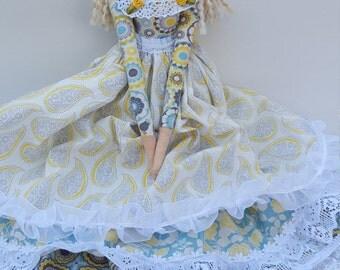 Tilda doll, Handmade cloth doll, Christmas, Keepsake, textile doll, OOAK doll, heirloom gift,modern rag doll, beautiful soft doll, home dec.