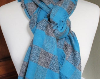 Turquoise and Grey Plaid Flannel Scarf