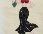 Vintage Towel Pinup Tip Risque Padded Assets Kitsch Applique Embroidered Lady With Purse
